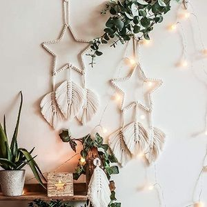 Bundle of 2 Boho Macrame Star + Leaf Wall Hangings